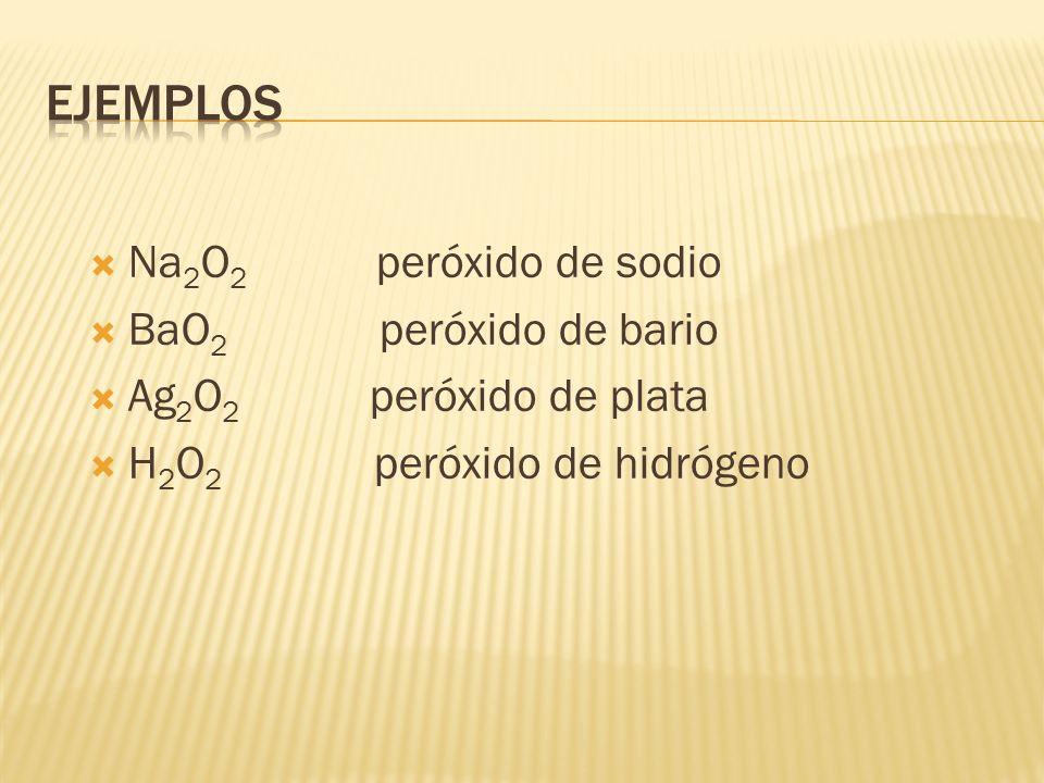 Ejemplos Na2O2 peróxido de sodio BaO2 peróxido de bario