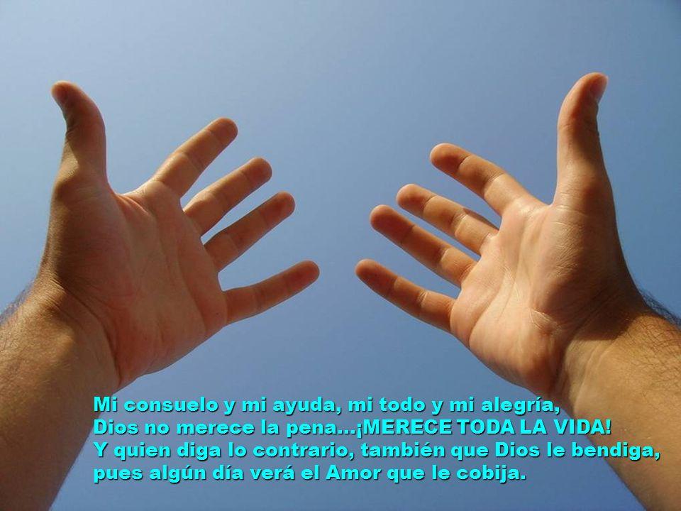 Mi consuelo y mi ayuda, mi todo y mi alegría, Dios no merece la pena…¡MERECE TODA LA VIDA.
