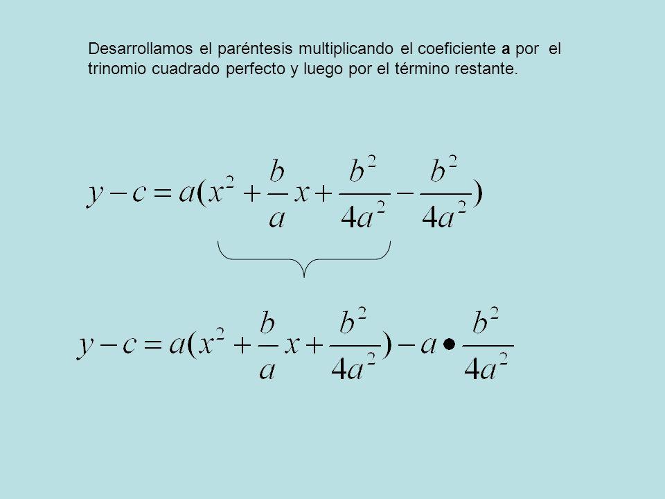 Desarrollamos el paréntesis multiplicando el coeficiente a por el trinomio cuadrado perfecto y luego por el término restante.