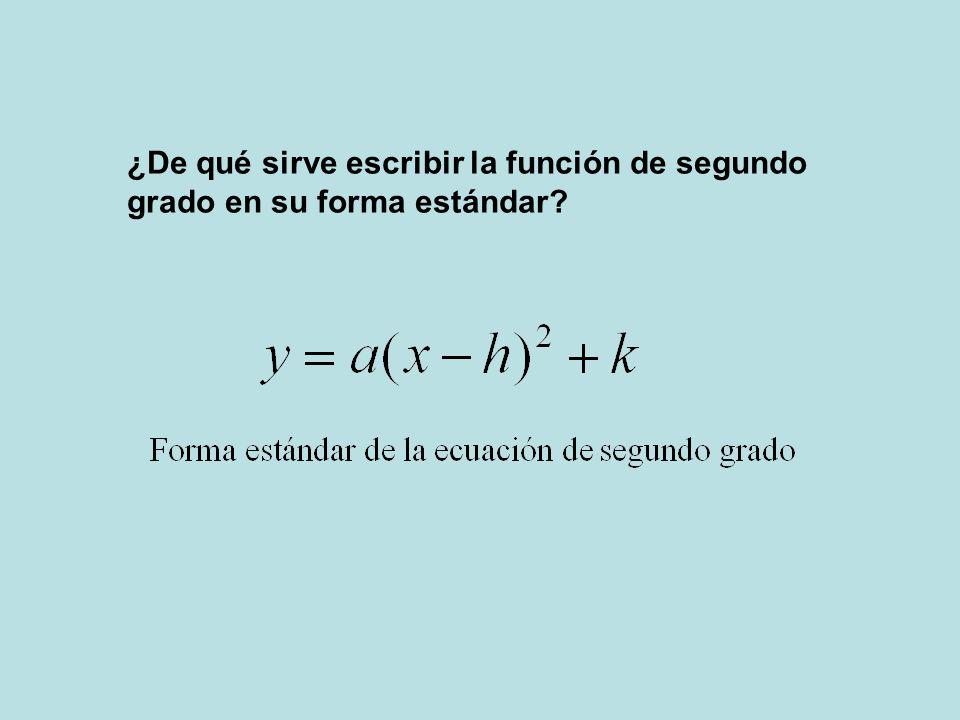 ¿De qué sirve escribir la función de segundo grado en su forma estándar