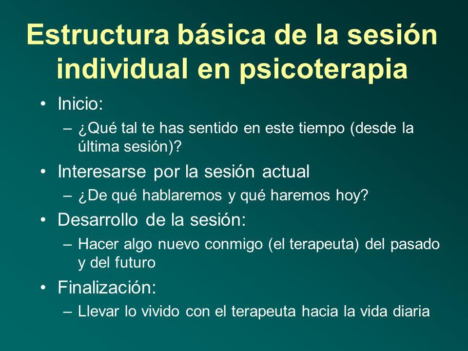 Estructura básica de la sesión individual en psicoterapia
