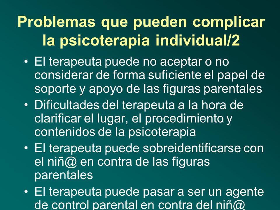 Problemas que pueden complicar la psicoterapia individual/2