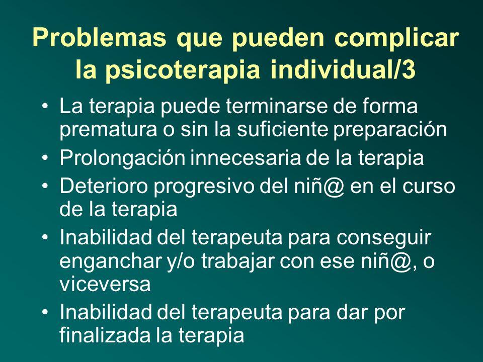 Problemas que pueden complicar la psicoterapia individual/3