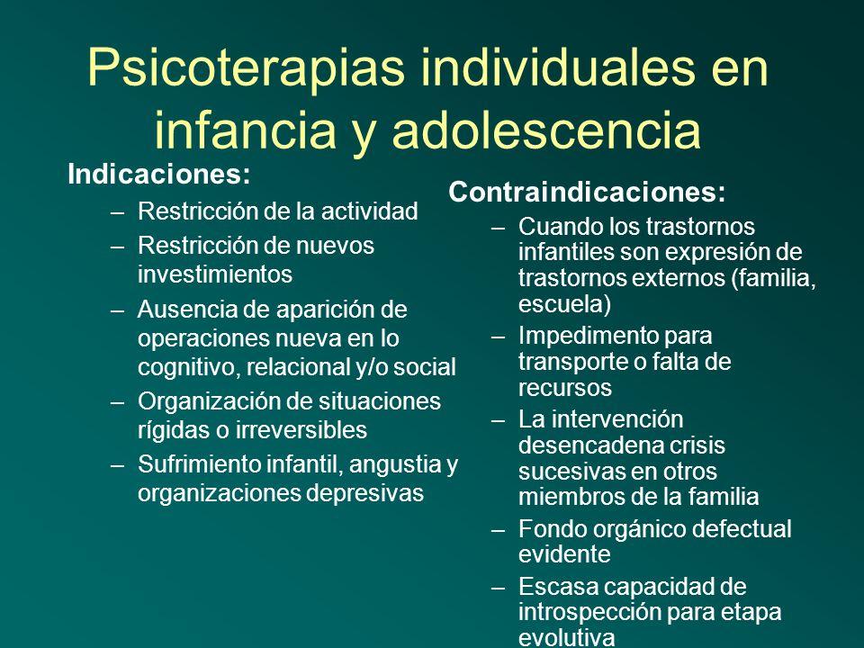 Psicoterapias individuales en infancia y adolescencia