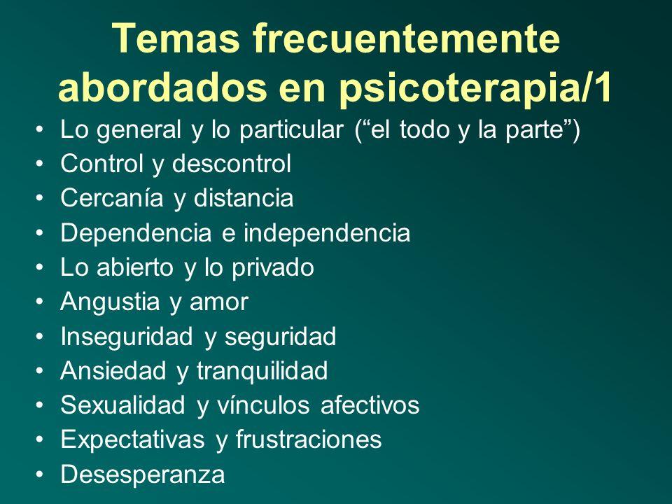 Temas frecuentemente abordados en psicoterapia/1