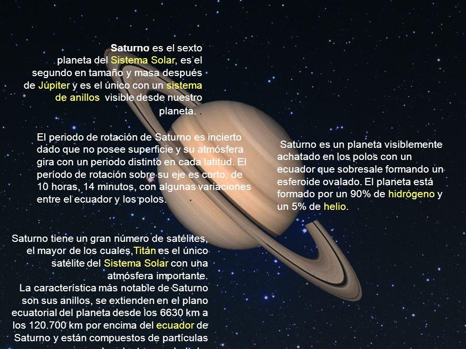 Saturno es el sexto planeta del Sistema Solar, es el segundo en tamaño y masa después de Júpiter y es el único con un sistema de anillos visible desde nuestro planeta. .