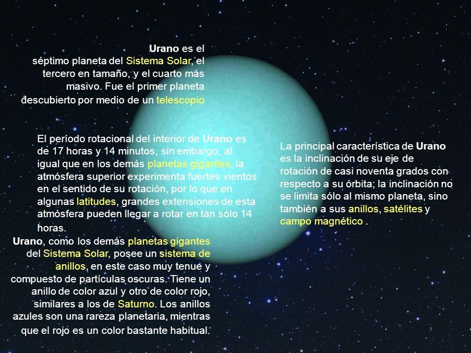 Urano es el séptimo planeta del Sistema Solar, el tercero en tamaño, y el cuarto más masivo. Fue el primer planeta descubierto por medio de un telescopio