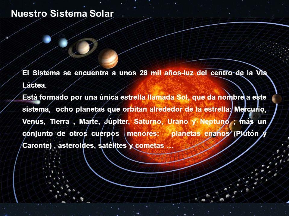Nuestro Sistema Solar El Sistema se encuentra a unos 28 mil años-luz del centro de la Vía Láctea.
