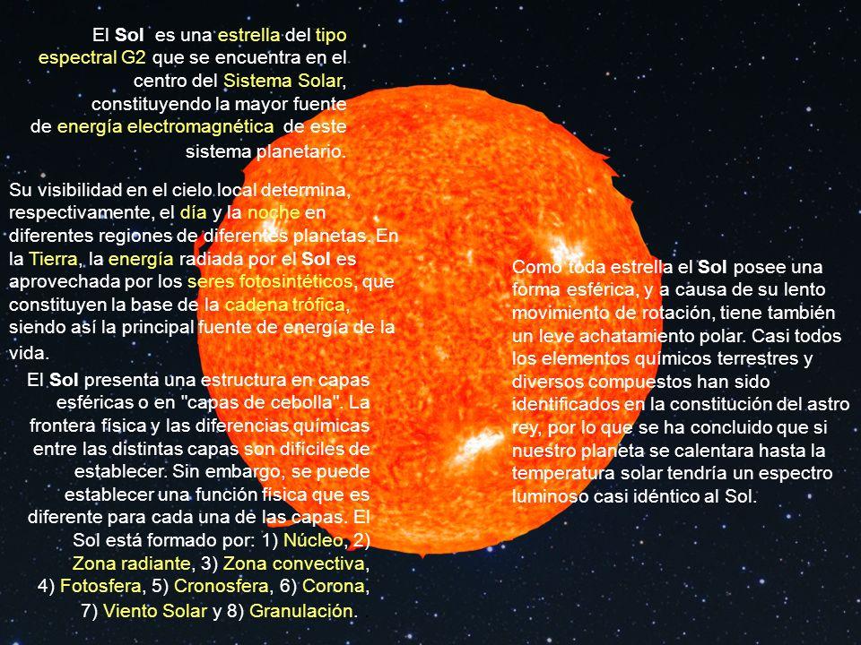 El Sol es una estrella del tipo espectral G2 que se encuentra en el centro del Sistema Solar, constituyendo la mayor fuente de energía electromagnética de este sistema planetario.