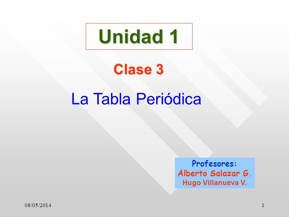 Unidad 1 La Tabla Periódica Clase 3 Profesores: Alberto Salazar G.