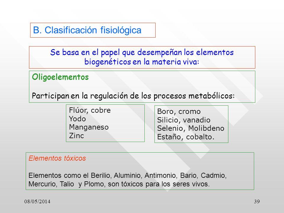 B. Clasificación fisiológica
