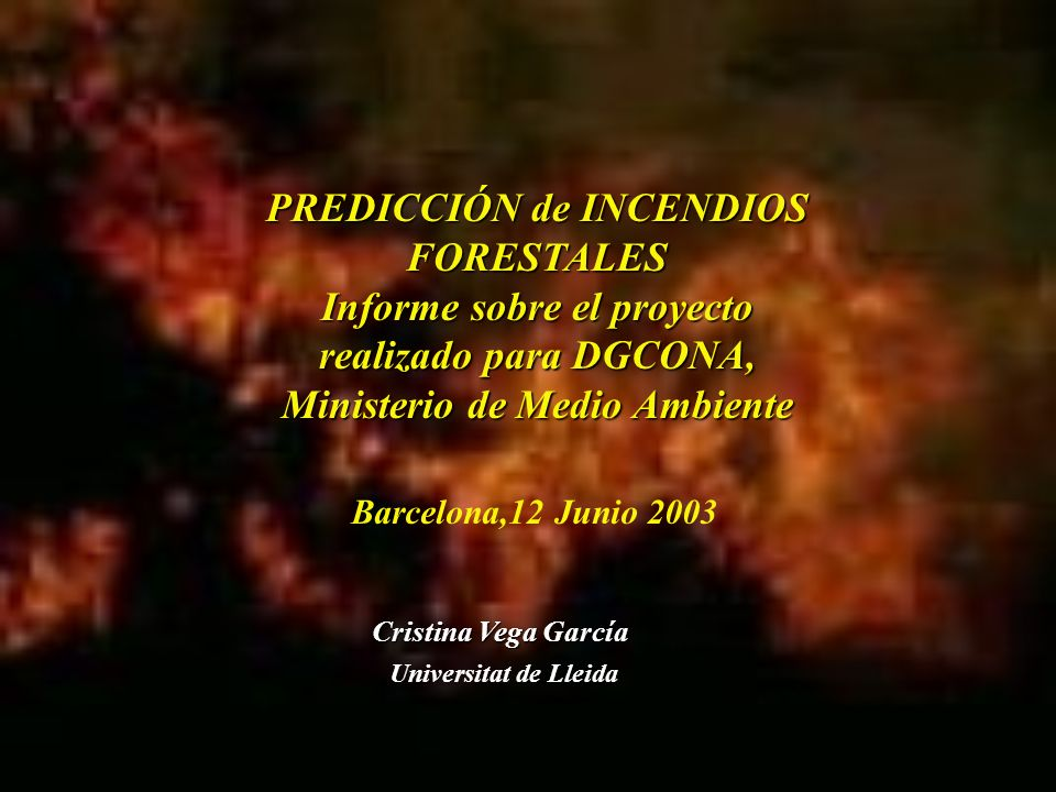 PREDICCIÓN de INCENDIOS FORESTALES