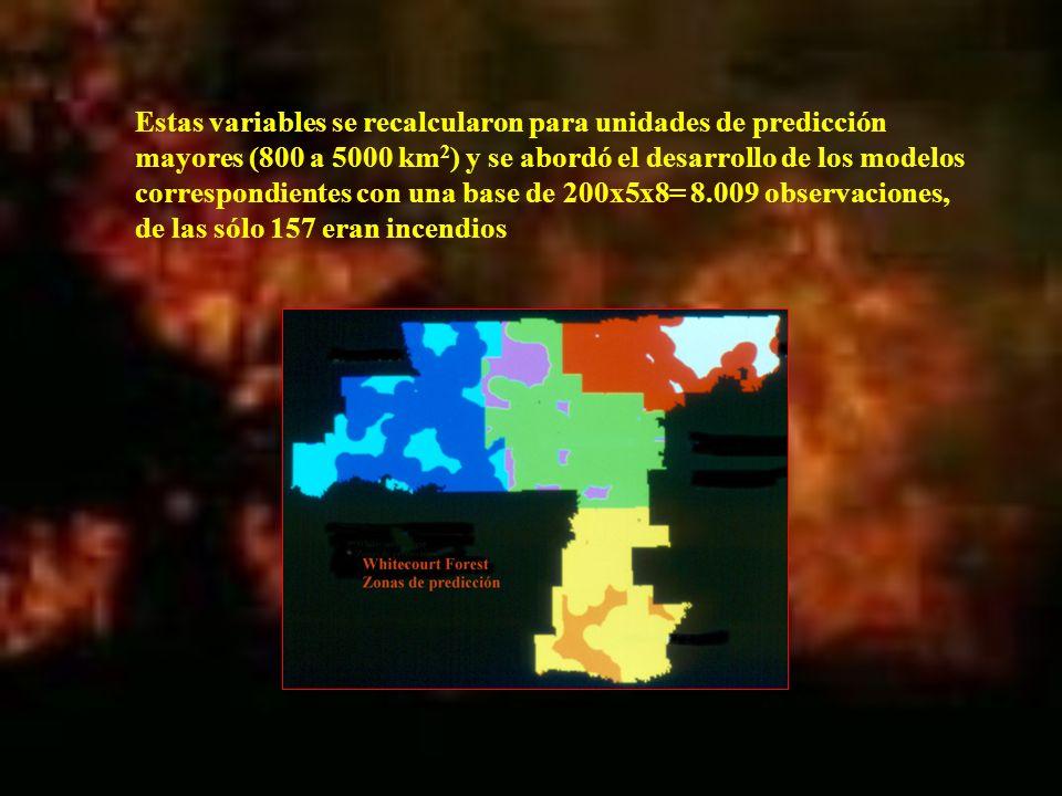 Estas variables se recalcularon para unidades de predicción mayores (800 a 5000 km2) y se abordó el desarrollo de los modelos correspondientes con una base de 200x5x8= 8.009 observaciones, de las sólo 157 eran incendios