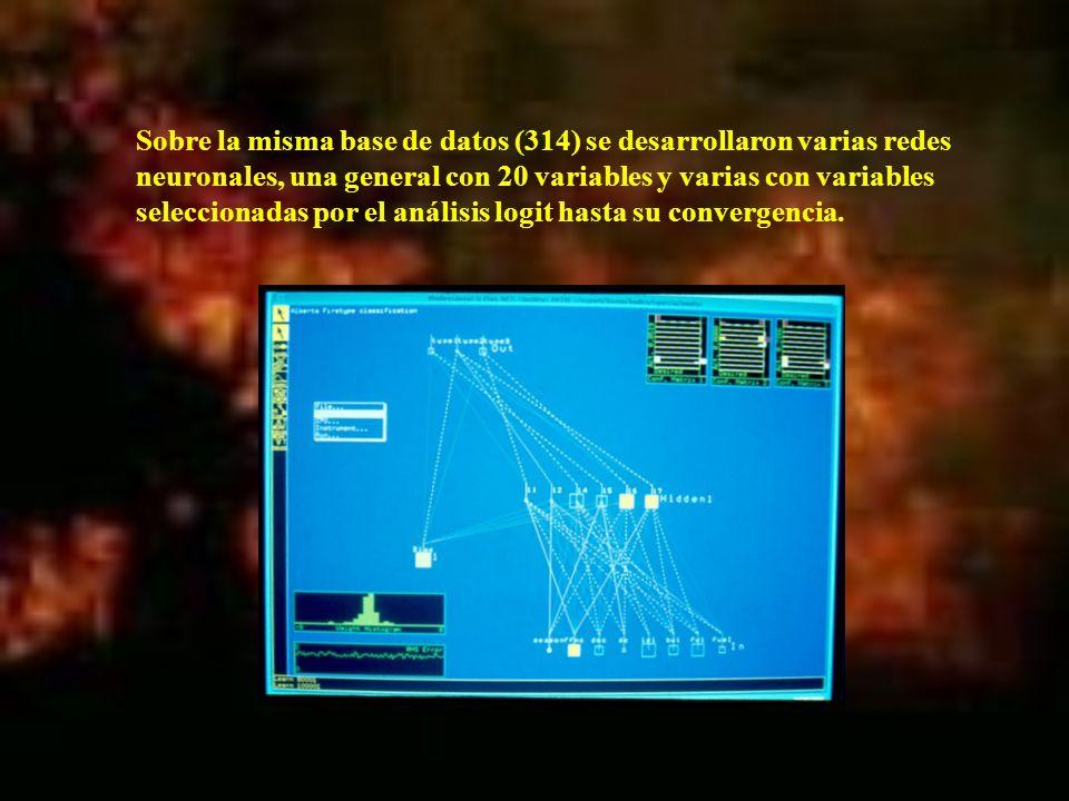 Sobre la misma base de datos (314) se desarrollaron varias redes neuronales, una general con 20 variables y varias con variables seleccionadas por el análisis logit hasta su convergencia.