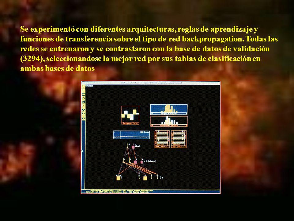 Se experimentó con diferentes arquitecturas, reglas de aprendizaje y funciones de transferencia sobre el tipo de red backpropagation.