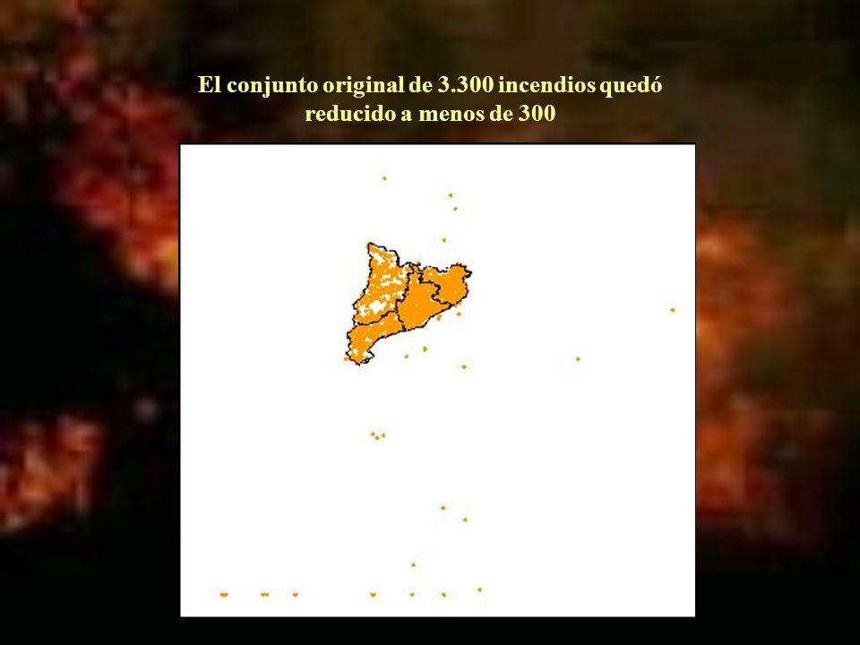El conjunto original de 3.300 incendios quedó reducido a menos de 300
