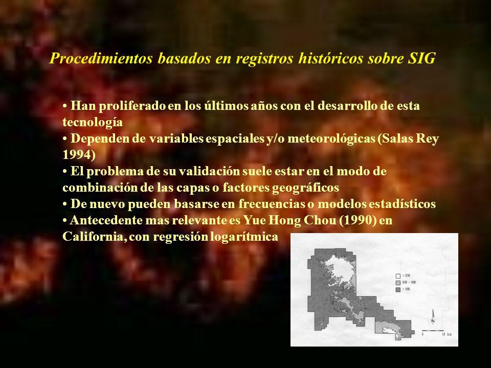 Procedimientos basados en registros históricos sobre SIG