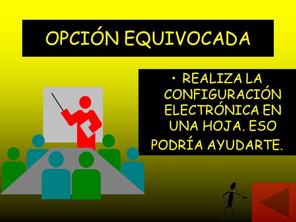 REALIZA LA CONFIGURACIÓN ELECTRÓNICA EN UNA HOJA. ESO