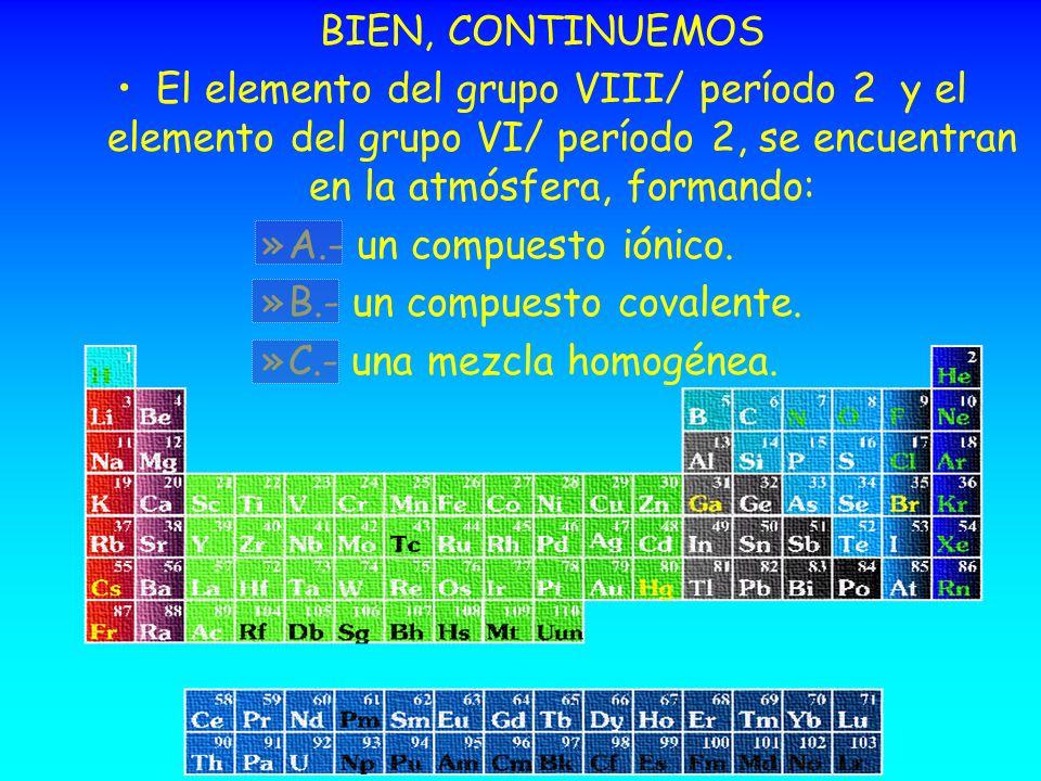BIEN, CONTINUEMOS El elemento del grupo VIII/ período 2 y el elemento del grupo VI/ período 2, se encuentran en la atmósfera, formando: