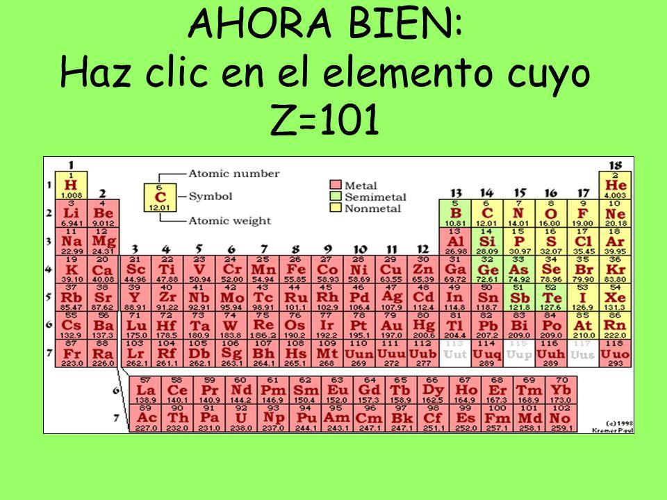 AHORA BIEN: Haz clic en el elemento cuyo Z=101