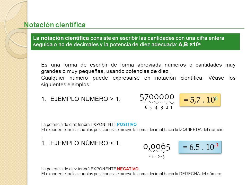 = 5,7 . 106 = 6,5 . 10-3 Notación científica EJEMPLO NÚMERO > 1: .