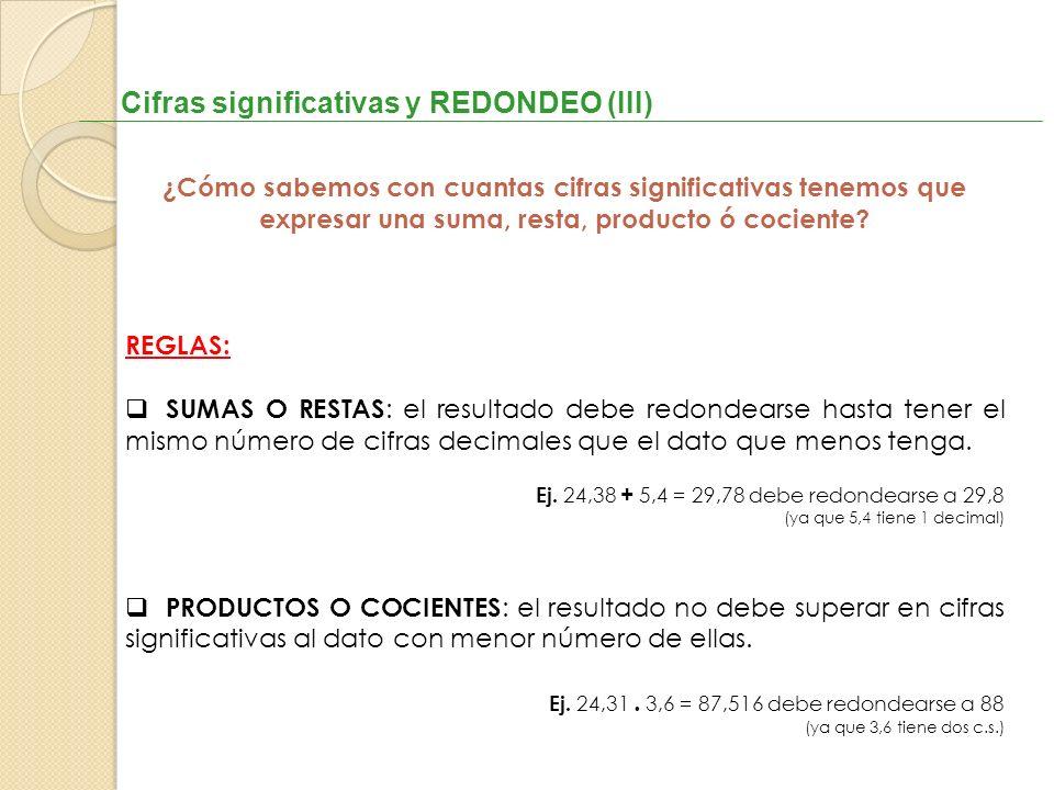 Cifras significativas y REDONDEO (III)
