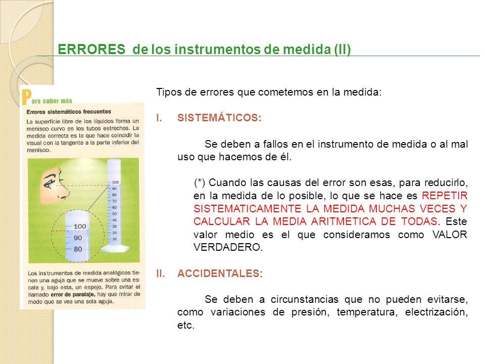 ERRORES de los instrumentos de medida (II)