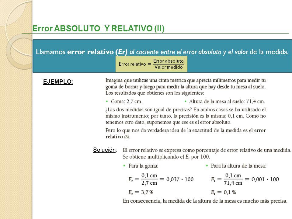 Error ABSOLUTO Y RELATIVO (II)