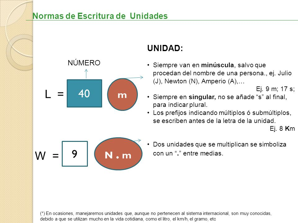 40 L = 9 W = m N . m Normas de Escritura de Unidades UNIDAD: NÚMERO