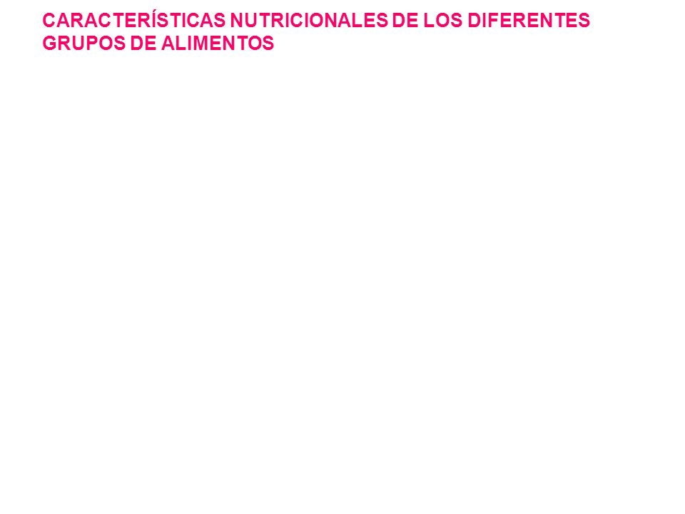 CARACTERÍSTICAS NUTRICIONALES DE LOS DIFERENTES