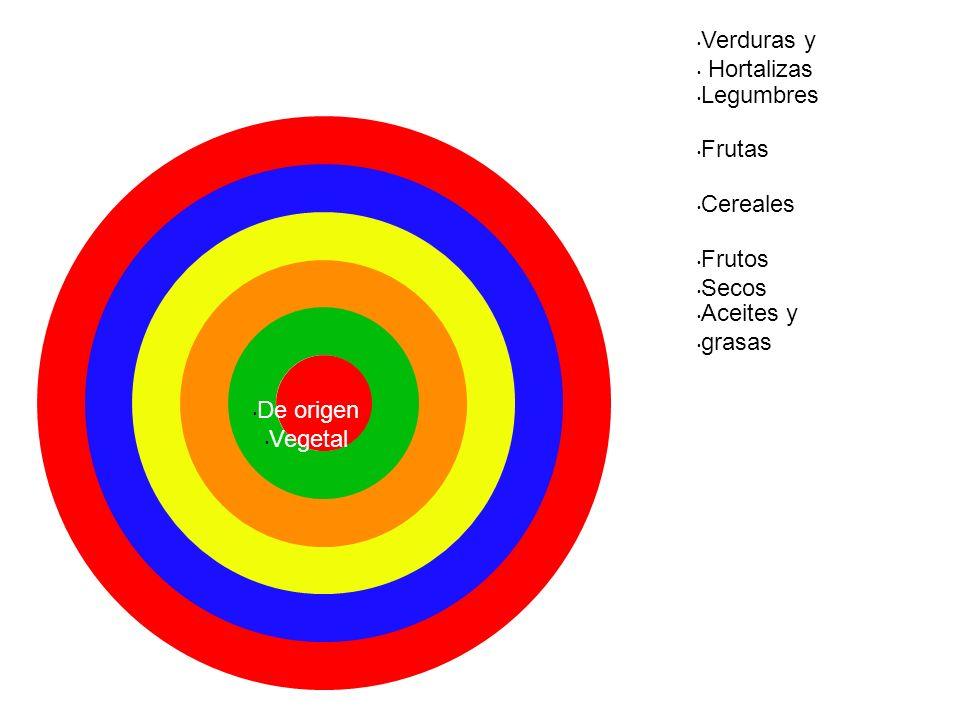 Verduras y Hortalizas Legumbres Frutas Cereales Frutos Secos Aceites y grasas De origen Vegetal