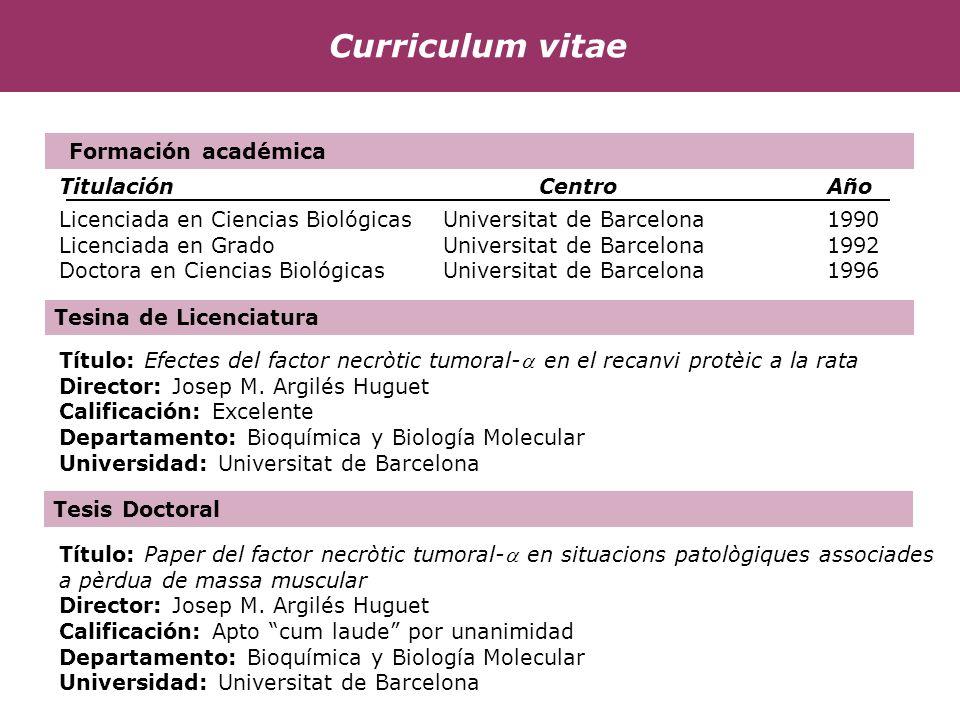 Curriculum vitae Formación académica Titulación Centro Año
