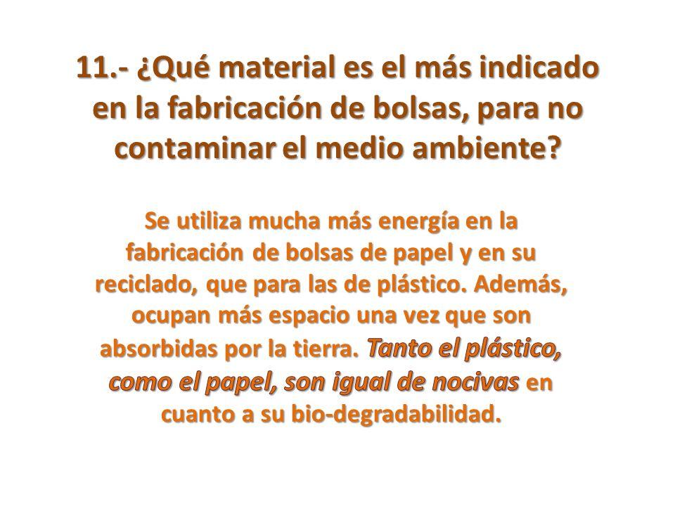 11.- ¿Qué material es el más indicado en la fabricación de bolsas, para no contaminar el medio ambiente