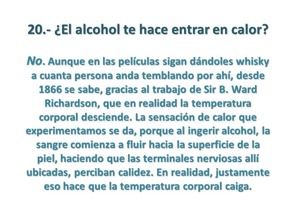 20.- ¿El alcohol te hace entrar en calor