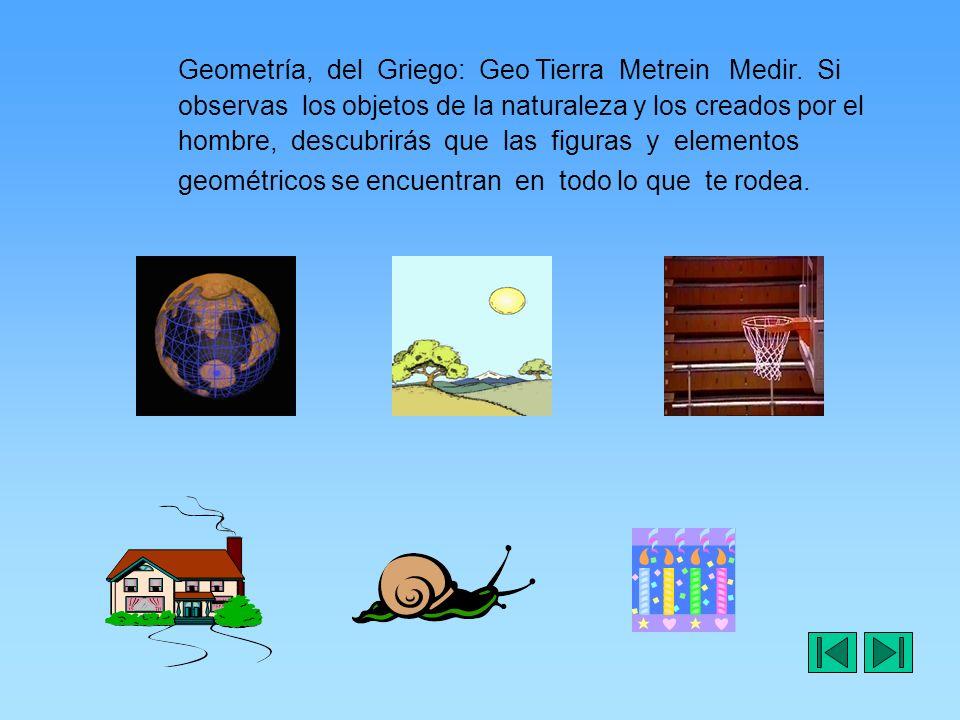 Geometría, del Griego: Geo Tierra Metrein Medir