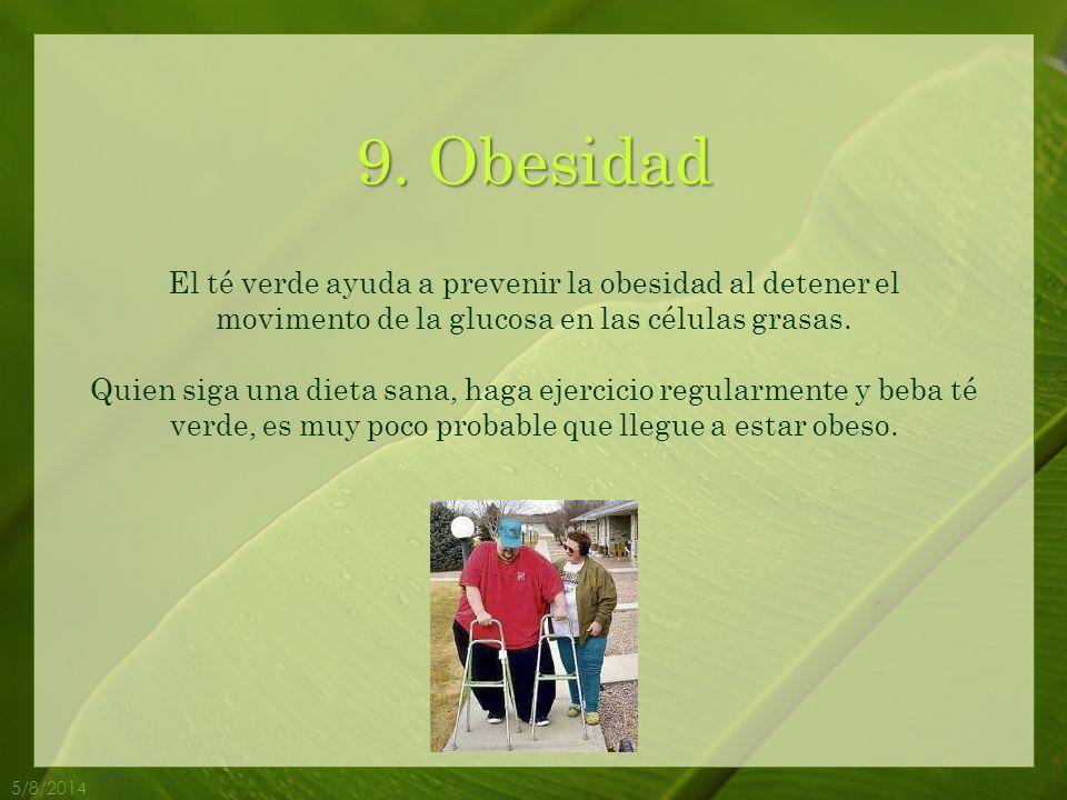 9. Obesidad El té verde ayuda a prevenir la obesidad al detener el movimento de la glucosa en las células grasas.