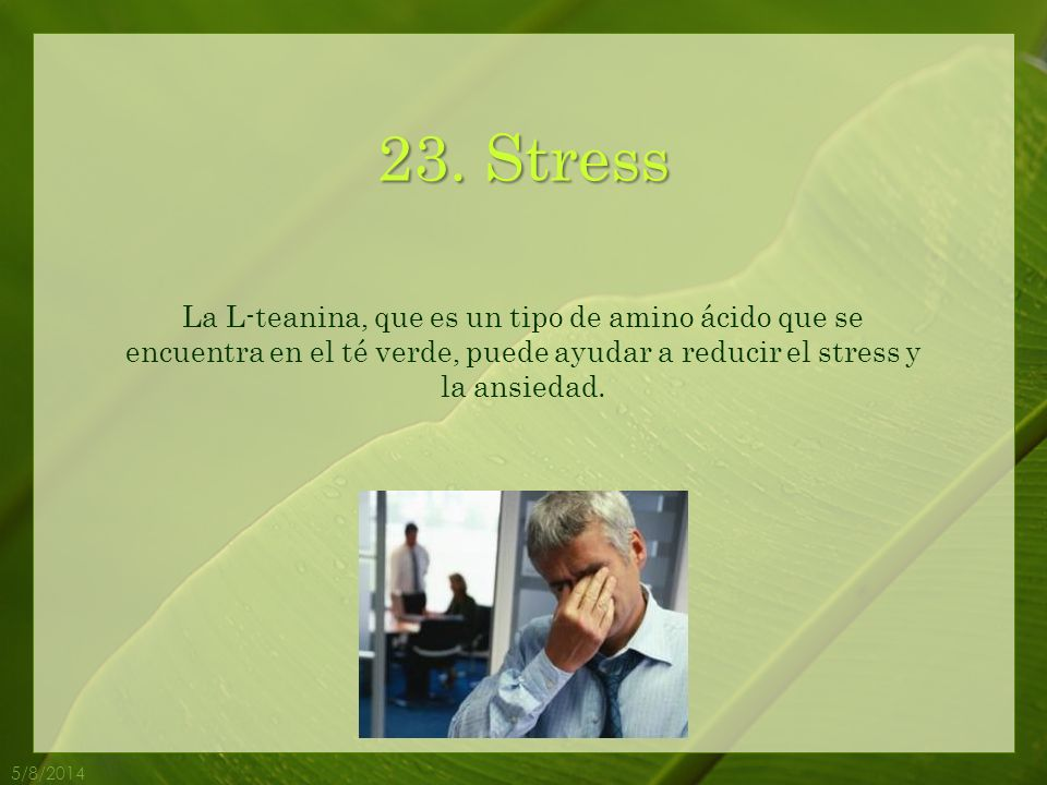 23. Stress La L-teanina, que es un tipo de amino ácido que se encuentra en el té verde, puede ayudar a reducir el stress y la ansiedad.