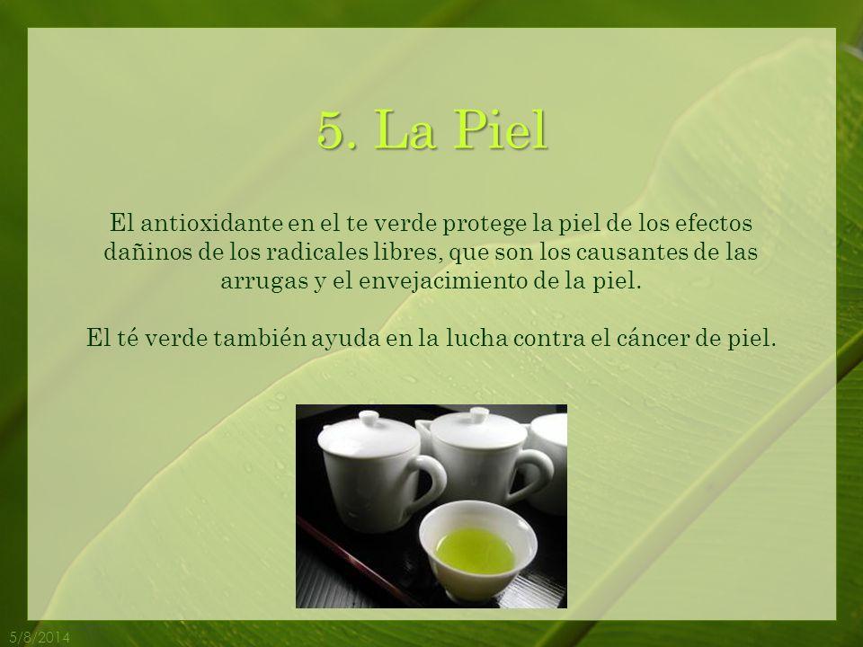 El té verde también ayuda en la lucha contra el cáncer de piel.