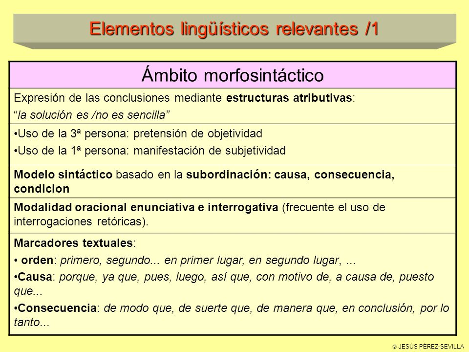 Elementos lingüísticos relevantes /1