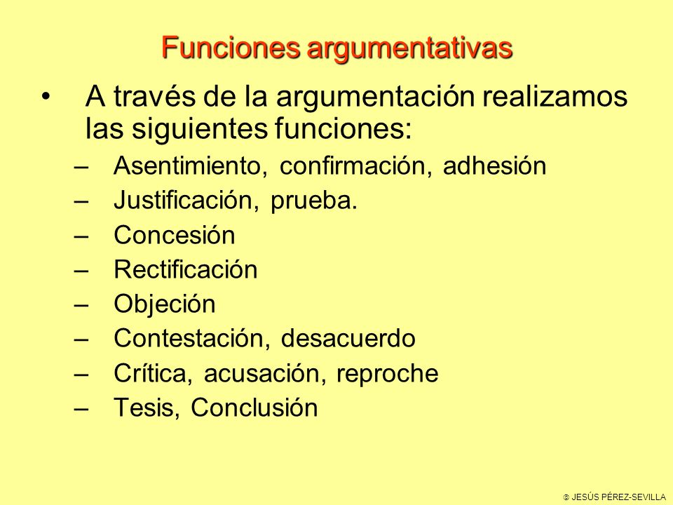 Funciones argumentativas