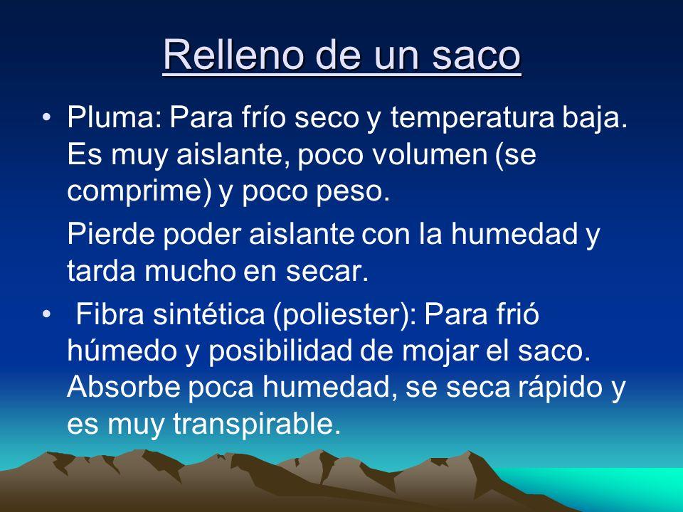 Relleno de un saco Pluma: Para frío seco y temperatura baja. Es muy aislante, poco volumen (se comprime) y poco peso.