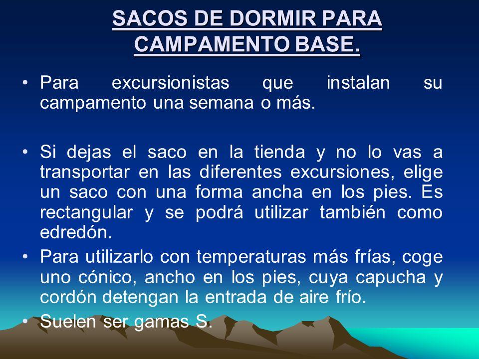 SACOS DE DORMIR PARA CAMPAMENTO BASE.