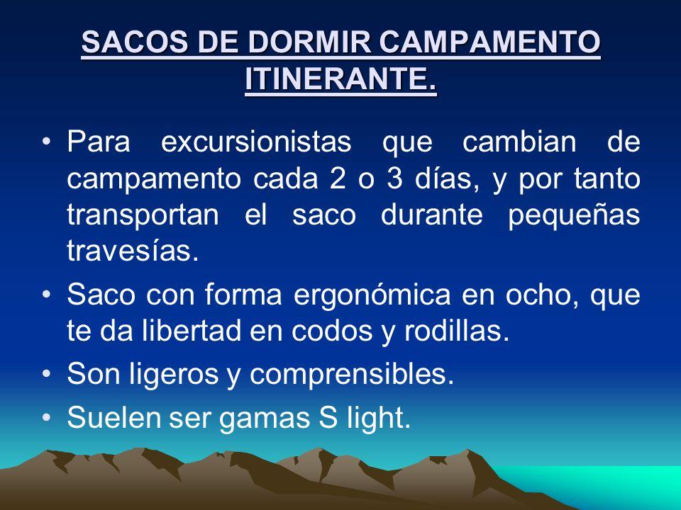 SACOS DE DORMIR CAMPAMENTO ITINERANTE.