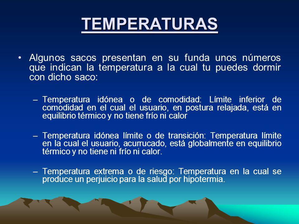 TEMPERATURAS Algunos sacos presentan en su funda unos números que indican la temperatura a la cual tu puedes dormir con dicho saco: