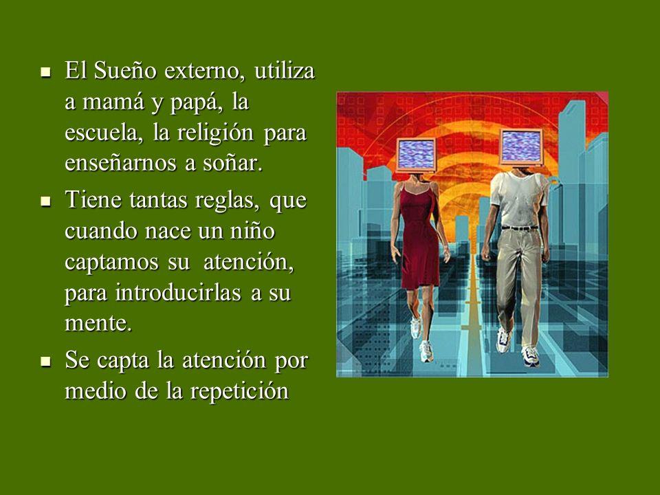 El Sueño externo, utiliza a mamá y papá, la escuela, la religión para enseñarnos a soñar.