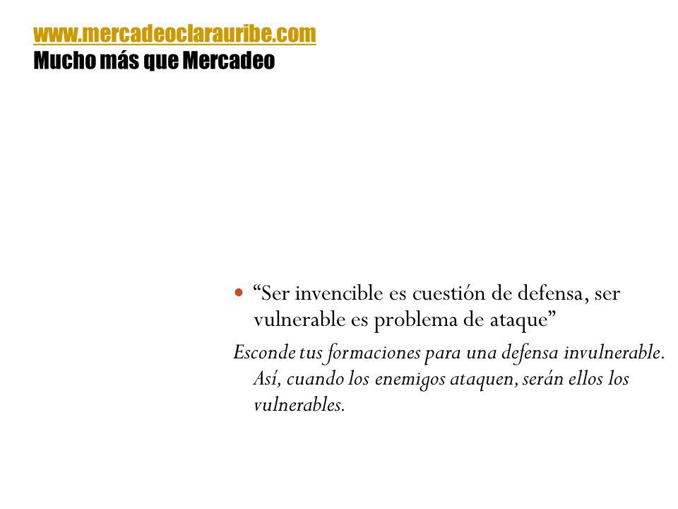 www.mercadeoclarauribe.com Mucho más que Mercadeo. Ser invencible es cuestión de defensa, ser vulnerable es problema de ataque