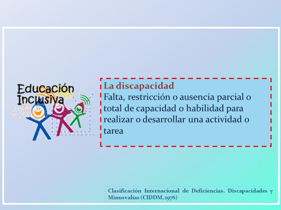 La discapacidad Falta, restricción o ausencia parcial o total de capacidad o habilidad para realizar o desarrollar una actividad o tarea.