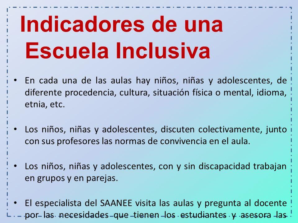 Indicadores de una Escuela Inclusiva