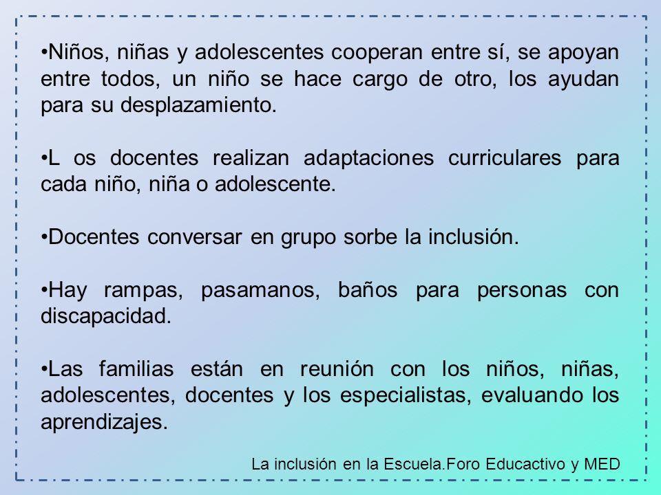 Docentes conversar en grupo sorbe la inclusión.