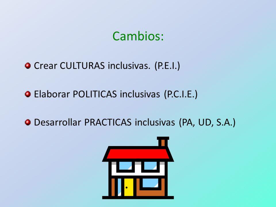 Cambios: Crear CULTURAS inclusivas. (P.E.I.)
